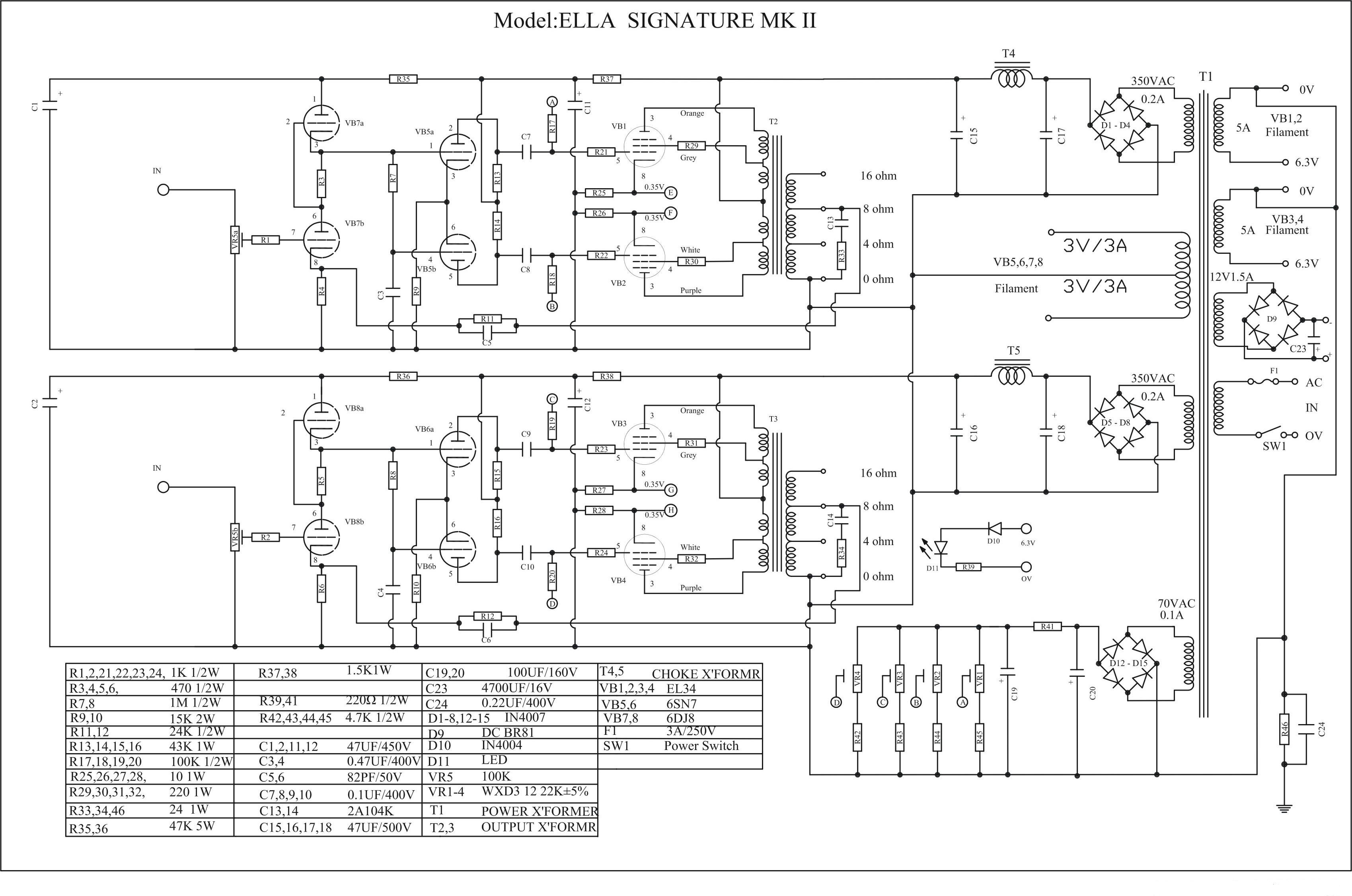 ella push pull el34  kt88 amplifier schematic  u2013 diy hifi supply